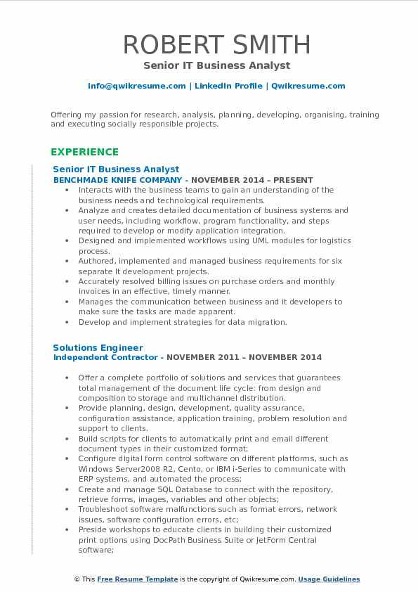 IT Business Analyst Resume Samples QwikResume