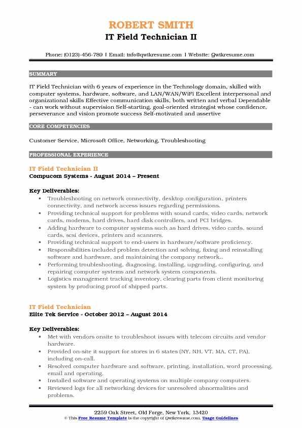 IT Field Technician Resume Samples QwikResume