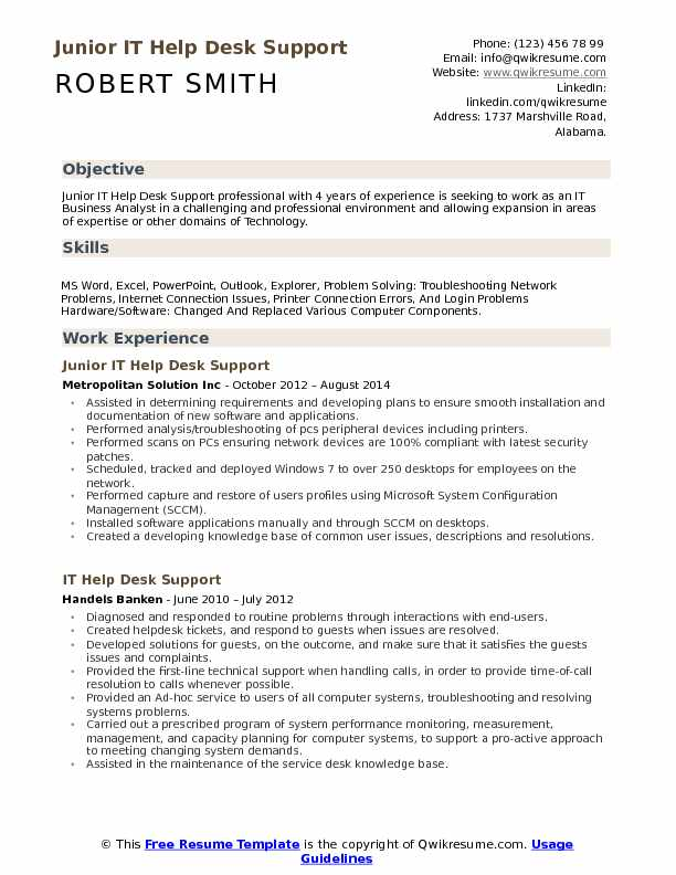 IT Help Desk Support Resume Samples QwikResume