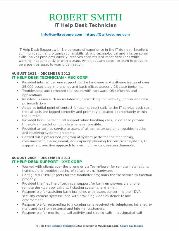 IT Help Desk Support Resume Samples QwikResume - help desk technician resume