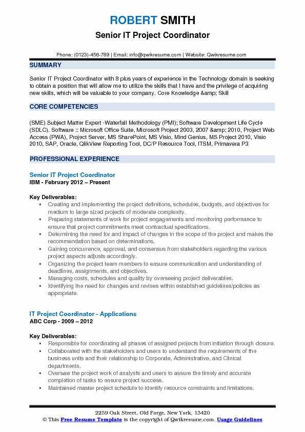 IT Project Coordinator Resume Samples QwikResume - project coordinator resume