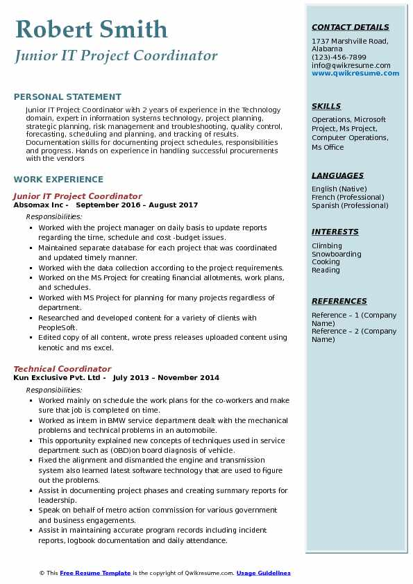 project planning sample resume