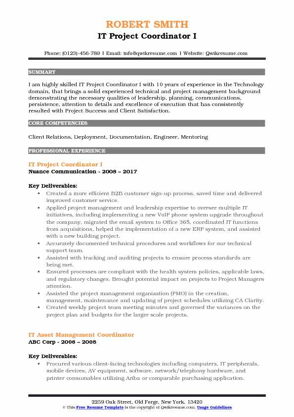 IT Project Coordinator Resume Samples QwikResume - incident facilitator resume