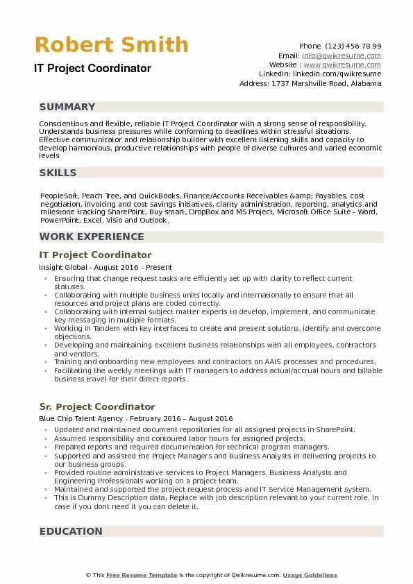 IT Project Coordinator Resume Samples QwikResume