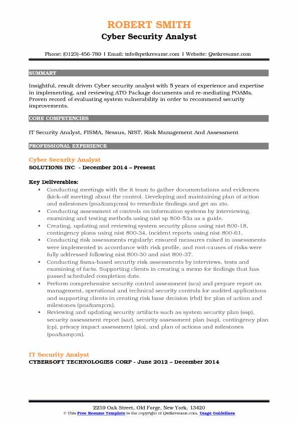 IT Security Analyst Resume Samples QwikResume
