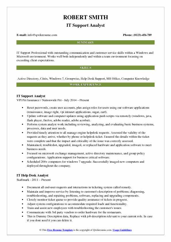 IT Support Analyst Resume Samples QwikResume - it analyst resume