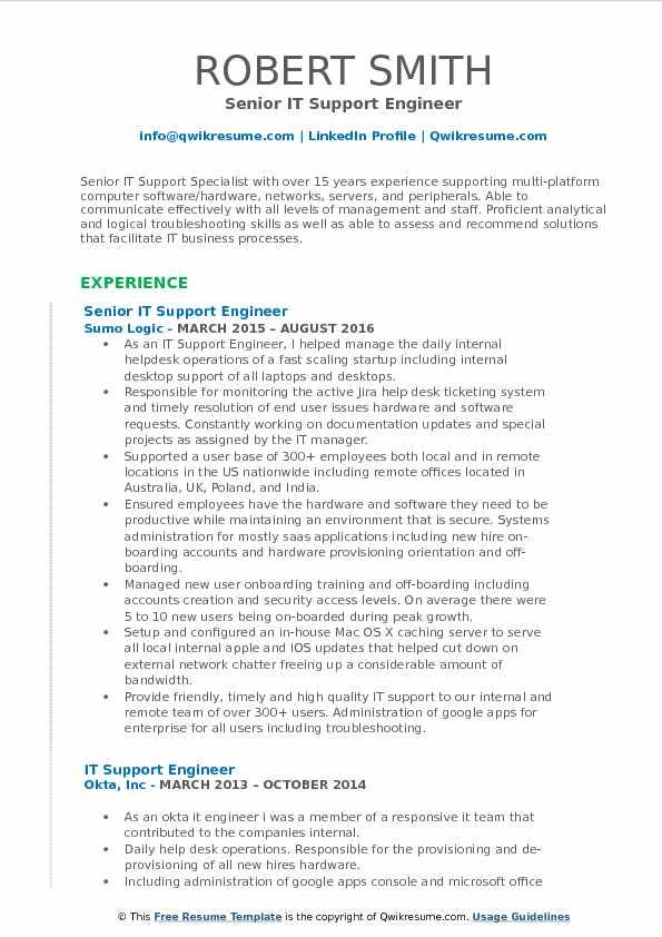 sample resume for server support engineer