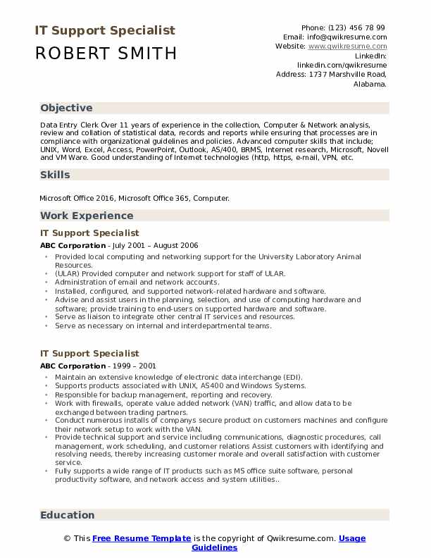 resume example worked with end users