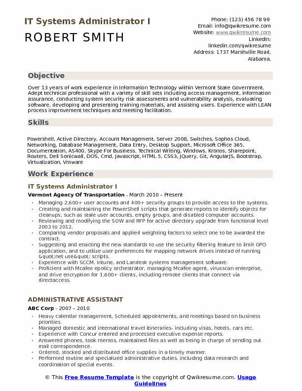 IT Systems Administrator Resume Samples QwikResume