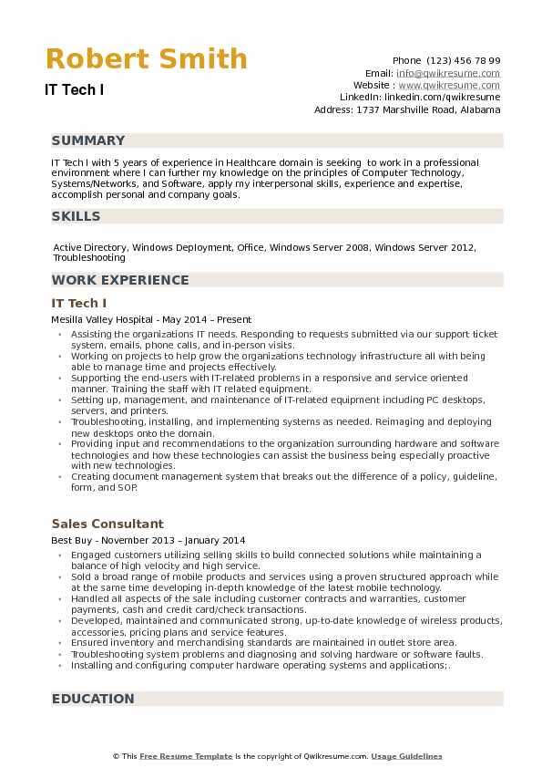 IT Tech Resume Samples QwikResume