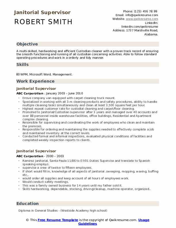 cleaning supervisor resume samples
