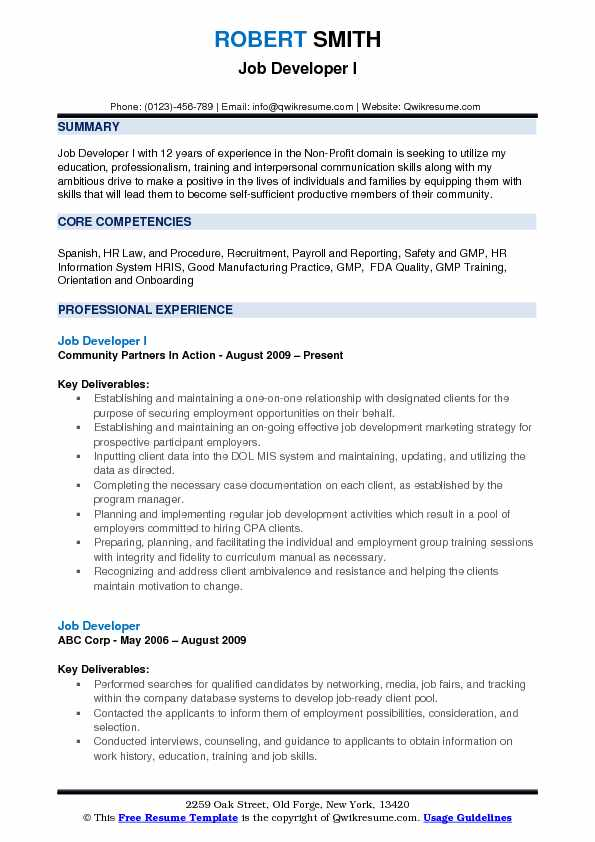 Job Developer Resume Samples QwikResume