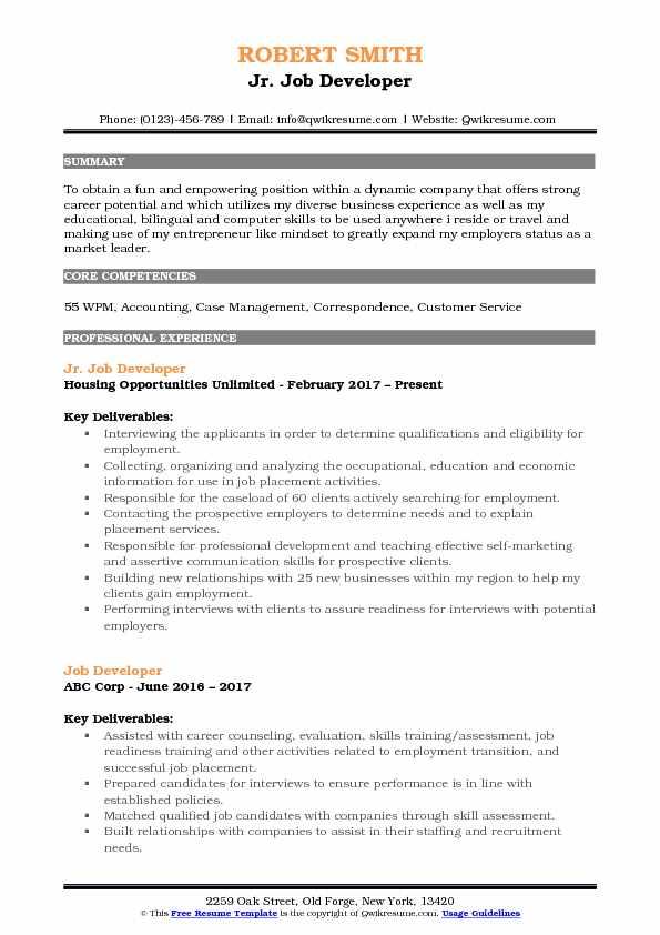 Job Developer Resume Samples QwikResume