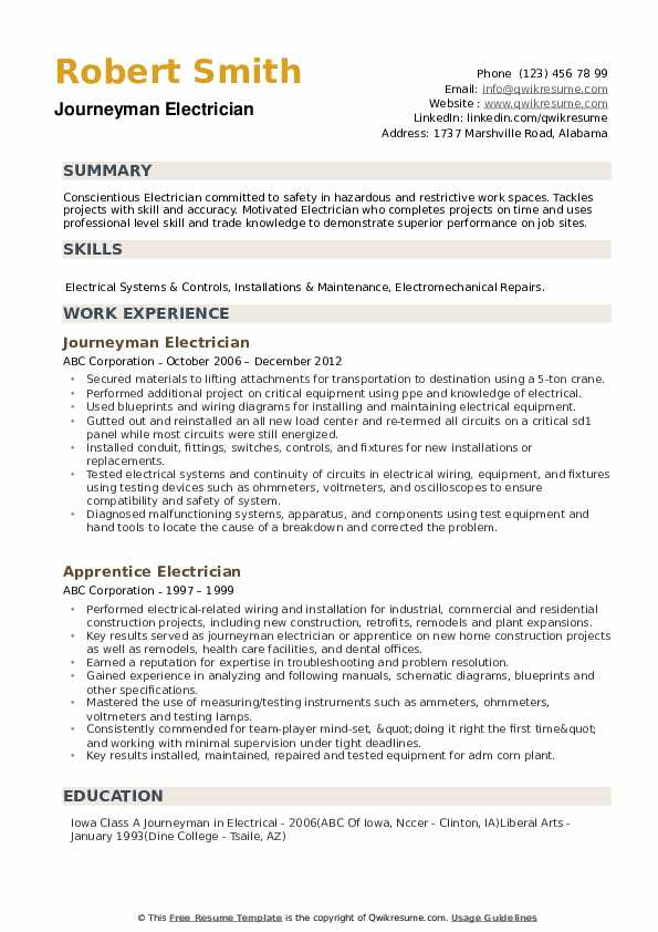 journeyman electrician resume samples pdf