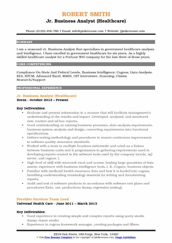 Jr Business Analyst Resume Samples QwikResume - Healthcare Analyst Resume