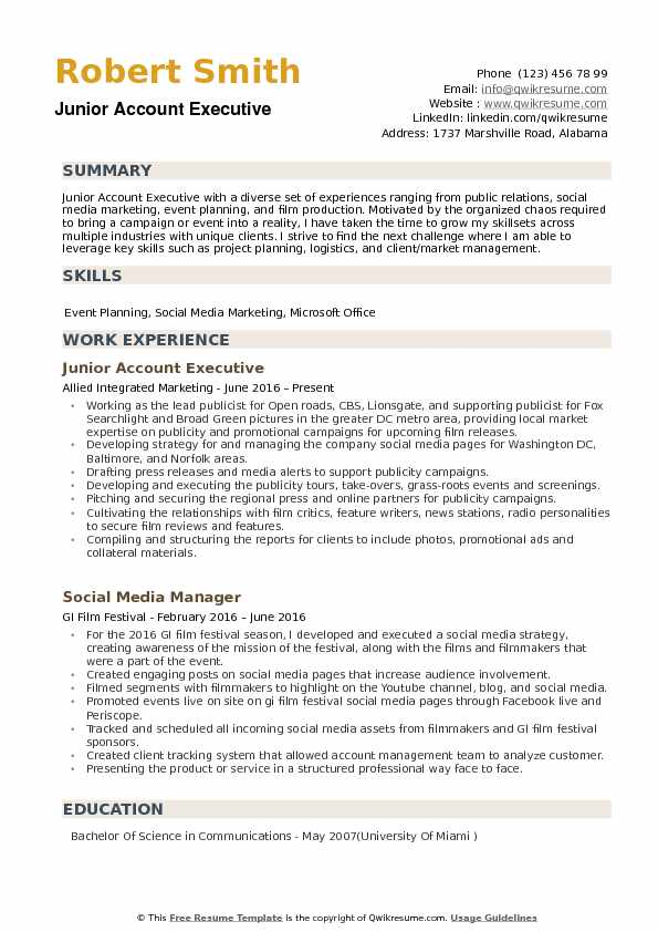 Junior Account Executive Resume Samples QwikResume