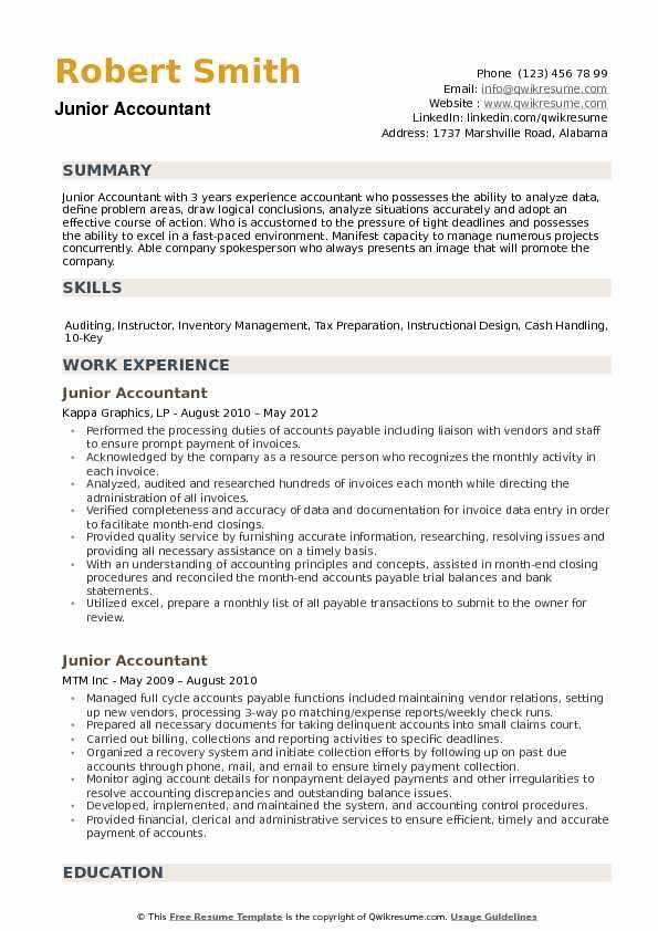 junior accountant resume sample