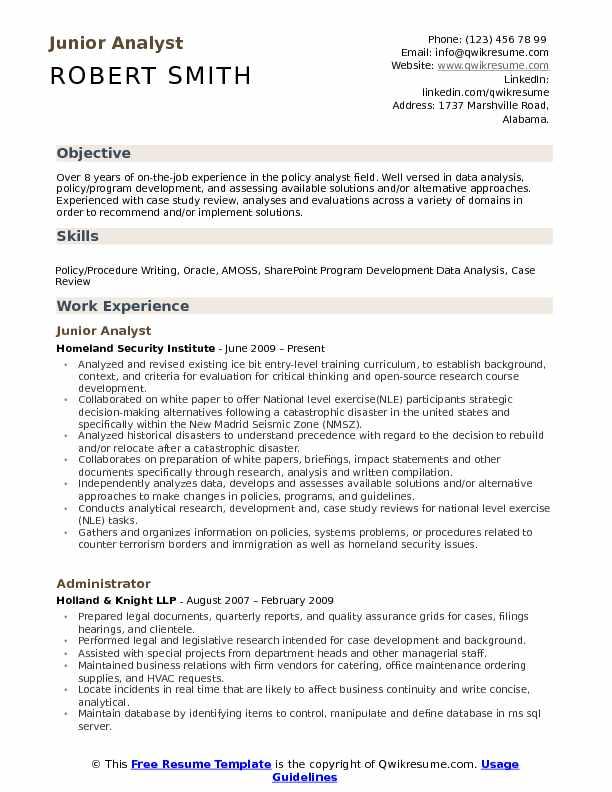 Junior Analyst Resume Samples QwikResume