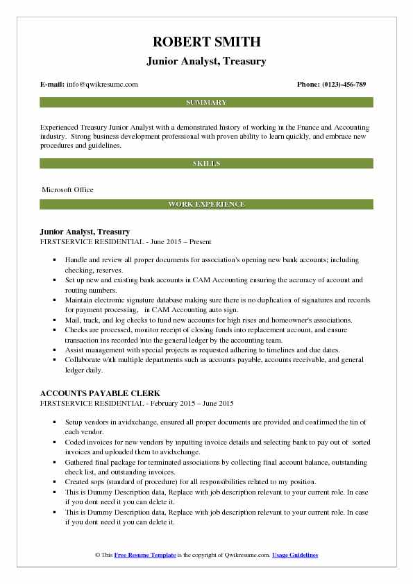 treasury resume - Romeolandinez - treasury specialist sample resume