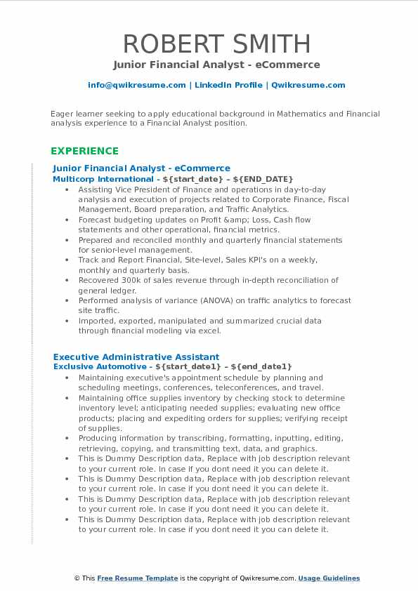 Junior Financial Analyst Resume Samples QwikResume - ecommerce analyst sample resume
