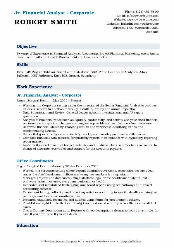 Junior Financial Analyst Resume Samples QwikResume - corporate resume example