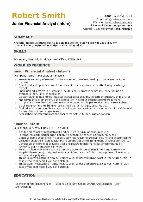 financial analyst resume sample fresh graduate