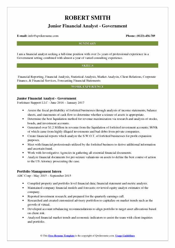 Junior Financial Analyst Resume Samples QwikResume - sample financial analyst resume