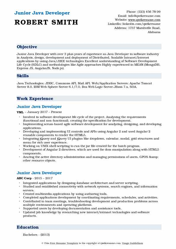 resume samples java developer