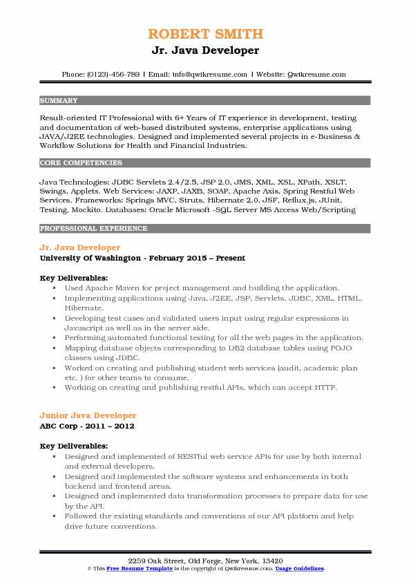 Junior Java Developer Resume Samples QwikResume