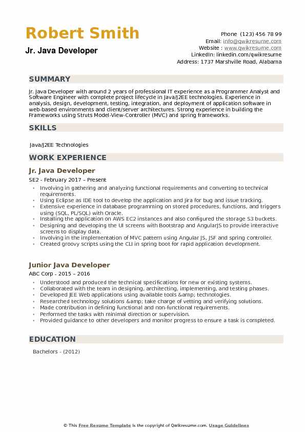 Junior Java Developer Resume Samples QwikResume - java developer resume example