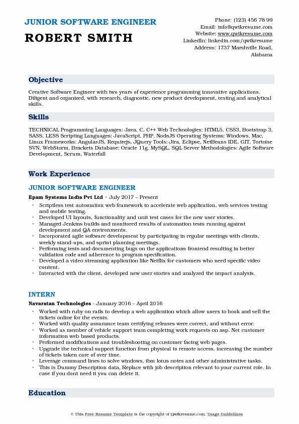 jira resume software engineer