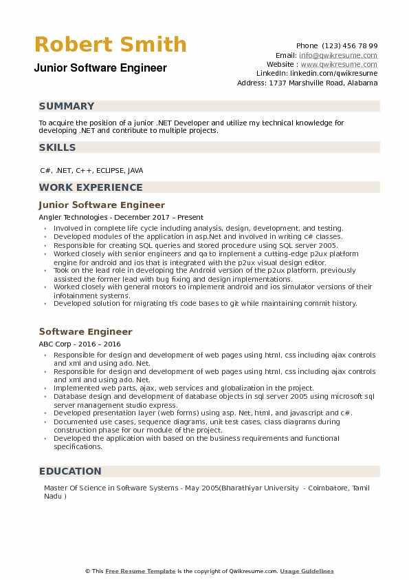 Junior Software Engineer Resume Samples QwikResume - software engineer resume objective