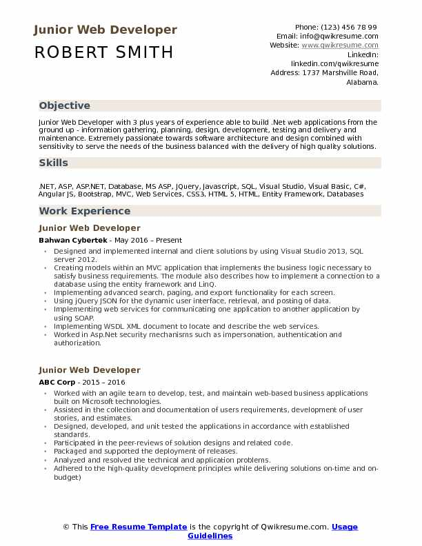 Junior Web Developer Resume Samples QwikResume - Web Development Resume