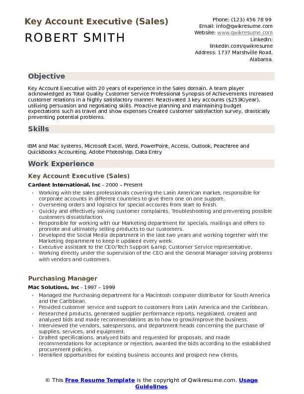 Key Account Executive Resume Samples QwikResume