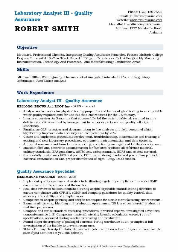 Quality Assurance Resume Download - Resume Examples | Resume ...