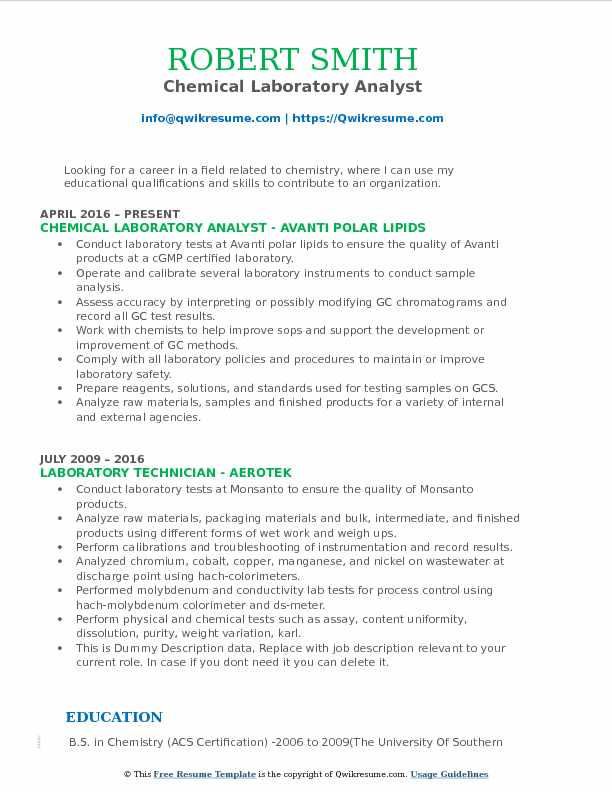 Laboratory Analyst Resume Samples QwikResume - guidelines for a resume