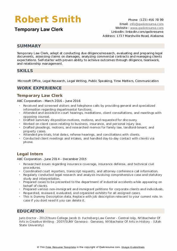 resume sample law clerk