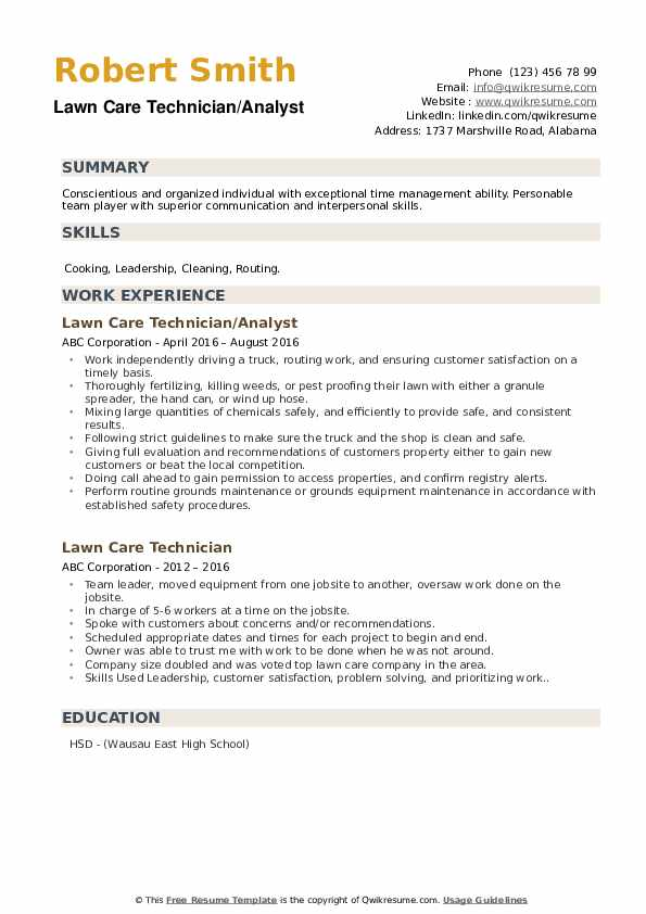 lawn mower resume sample