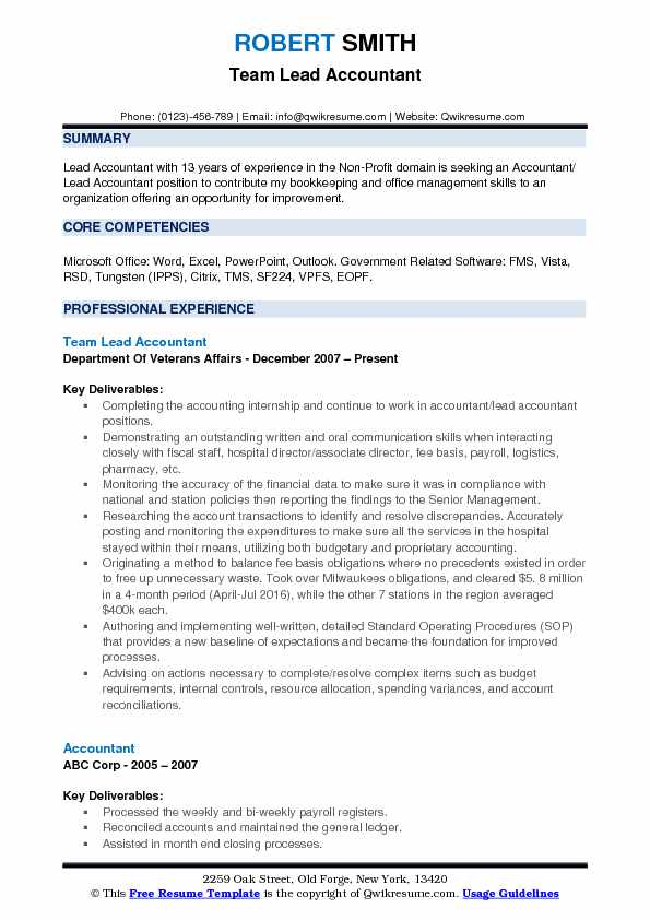 Lead Accountant Resume Samples QwikResume