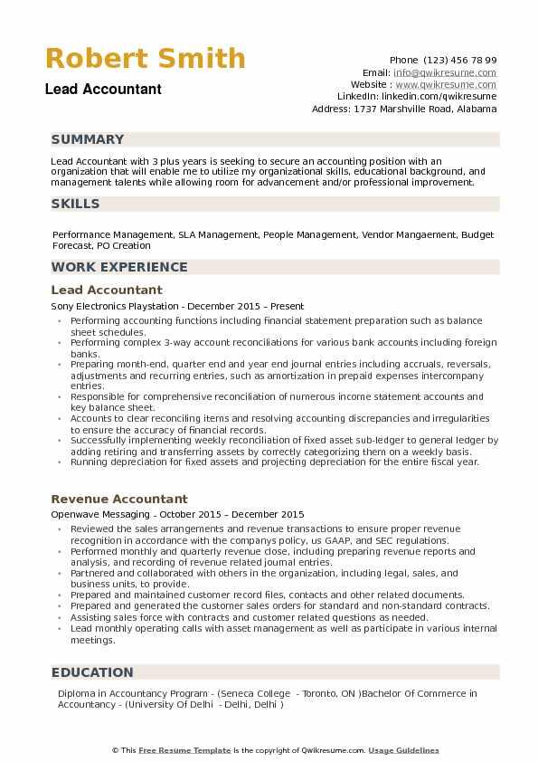 Lead Accountant Resume Samples QwikResume