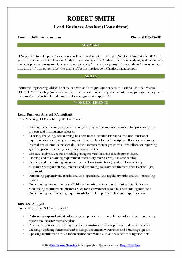 Lead Business Analyst Resume Samples QwikResume - ba sample resume