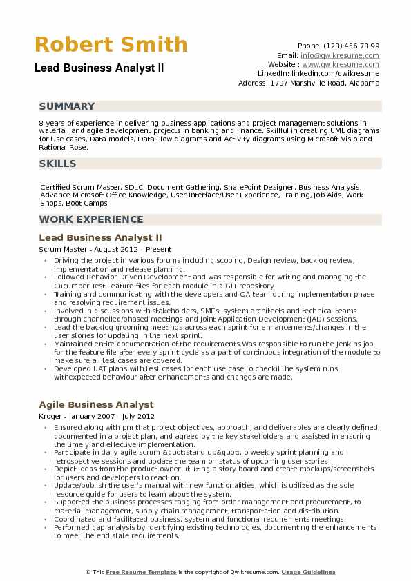 Lead Business Analyst Resume Samples QwikResume - Sharepoint Business Analyst Sample Resume