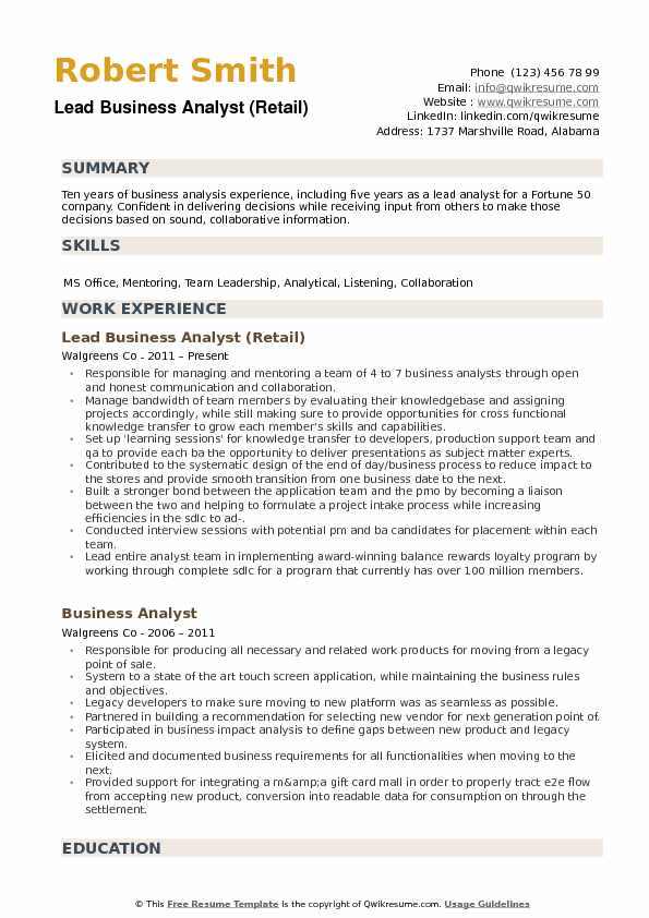 it business analyst resume summary examples
