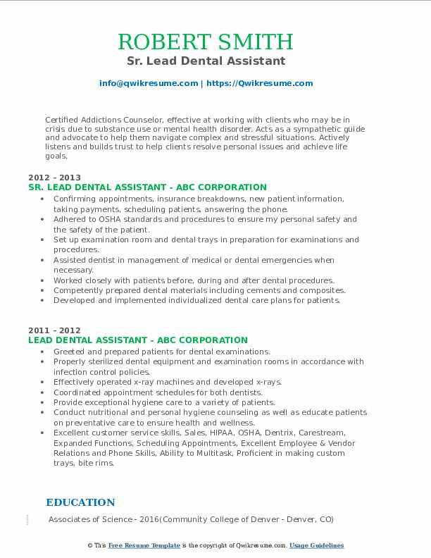 bilingual dental assistant resume sample