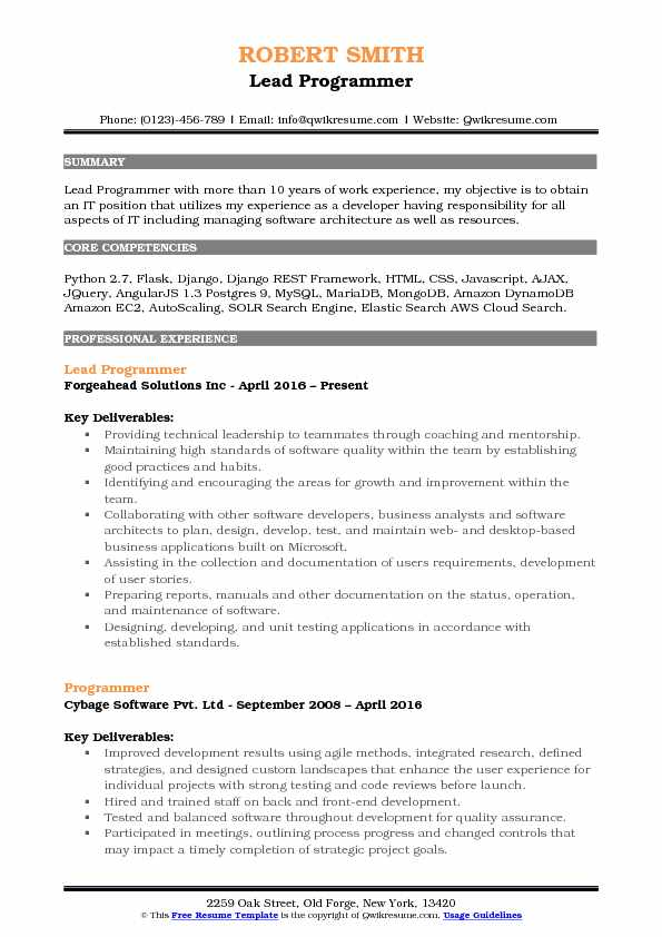 Lead Programmer Resume Samples QwikResume