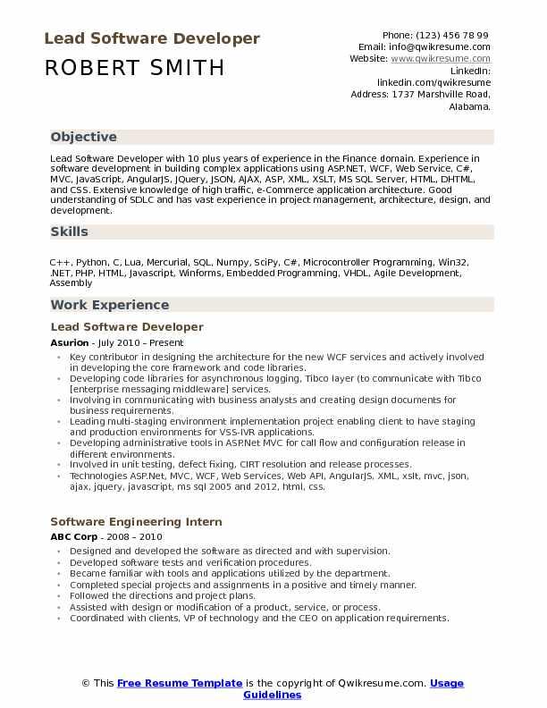 Lead Software Developer Resume Samples QwikResume