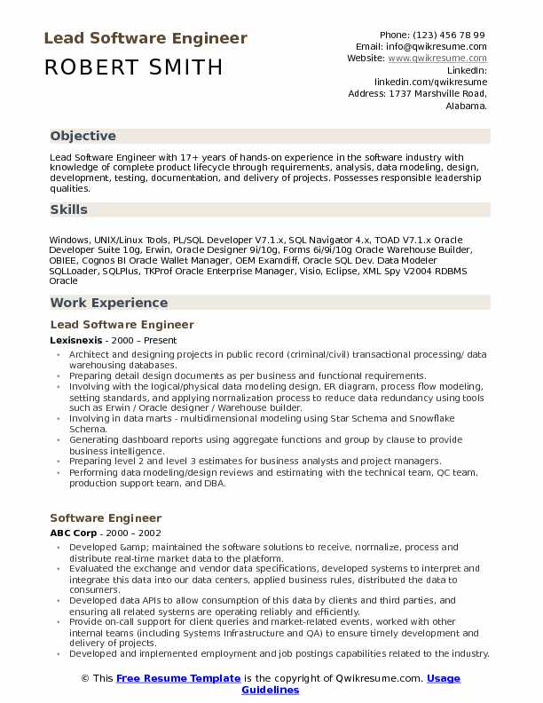 Lead Software Engineer Resume Samples QwikResume