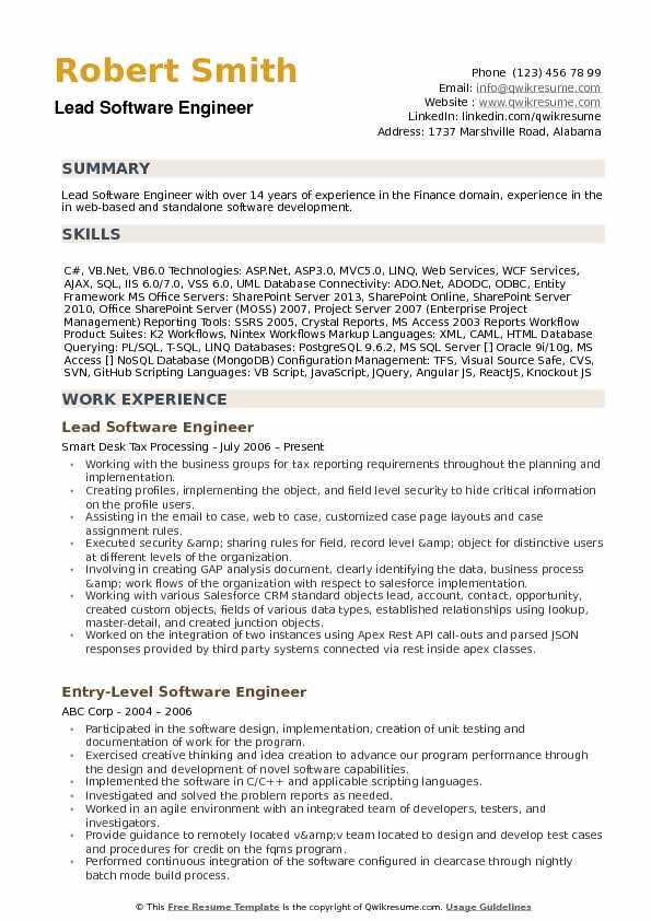 Lead Software Engineer Resume Samples QwikResume