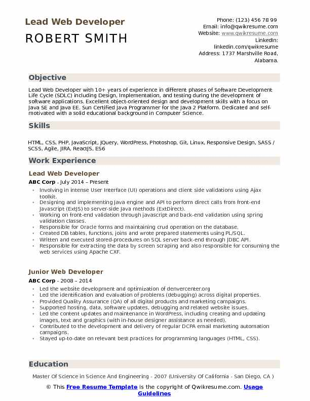 Lead Web Developer Resume Samples QwikResume - Web Development Resume