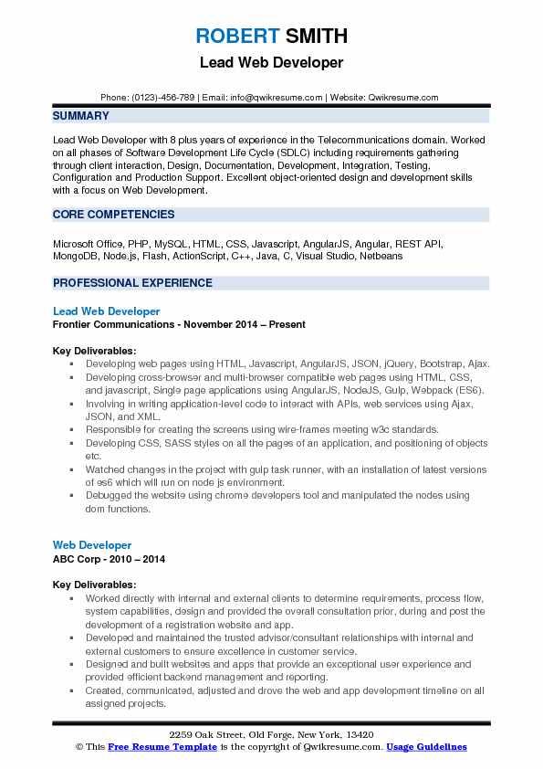 Lead Web Developer Resume Samples QwikResume